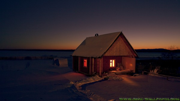 Small house in the winter