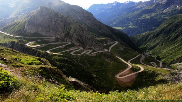 Winding road to the top of the mountain