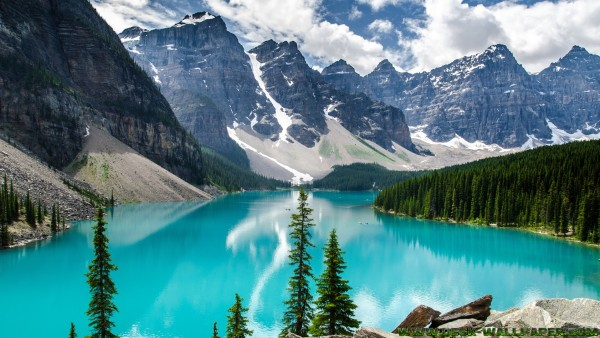 Blue lake with mountains